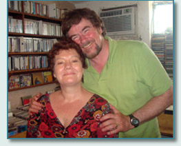 Joyce and John Beaton at the Mana'o Radio Studios, Wailuku, Maui