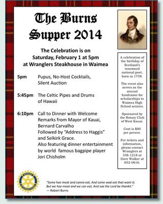 Robert Burns Supper, Kauai 2014