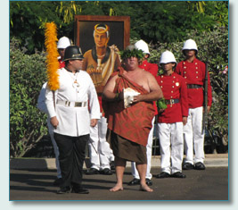 The Royal Hawaiian Guard, and Hawaii Royal Order of Guards escort the portrait of Queen Keopuolani to the Lahaina Royal Hoike