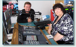 Hamish Burgess and Liz Clark at Celtic Music Radio in Glasgow