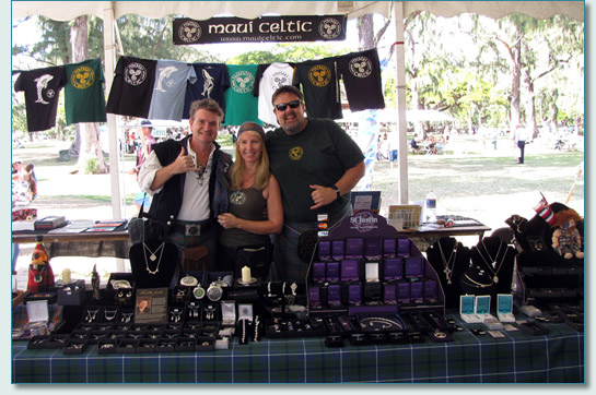 Hamish Burgess, Jennifer Fahrni and Jason Wolford at the Maui Celtic booth, at the 29th Annual Hawaiian Scottish Festival & Highland Games, 2010