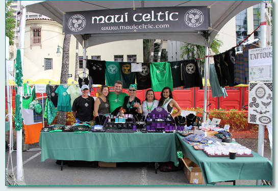 Maui Celtic crew and booth  - Honolulu St.Patrick's Day Blockparty 2012