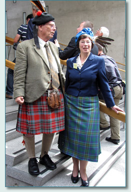 James McBain of McBain and Madam Pauline Hunter of Hunterson, at the Clan Convention, Scottish Parliament 2009