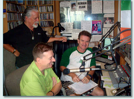 Mike O'Dwyer, Joel Agnew, and Hamish Burgess in the Mana'o Radio Studios, Wailuku Maui - March 2012