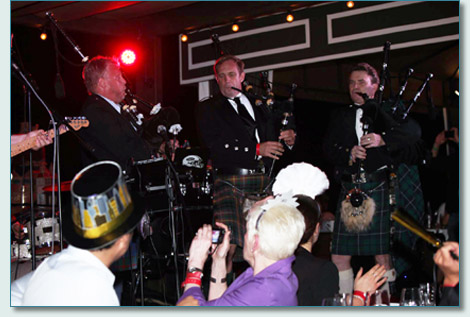 Mike Riedel, Roger McKinley and Hamish Burgess piping on New Year's Eve 2012 at Fleetwood's on Front St., Lahaina, Maui