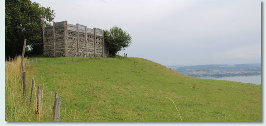 Reconstructed section of fortress of the Helvetii Celtic tribe, Mont Vully, Switzerland