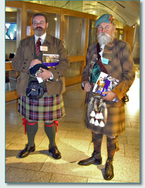 Stuart Morris of Balgonie Castle, and Iain MacIver of Strathendy at the Clan Convention at the Scottish Parliament, Edinburgh 2009