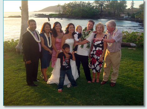 Michael O'Dwyer, Tiara Matsui and families at their Makena wedding , May 28th 2010