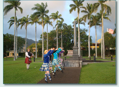The Princess Ka'iulani Memorial '09 - Jacob Kaio piping for Highland dancers from The Margaret Rose School of Dance of Helensborough, Scotland