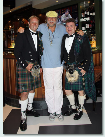 Hamish Burgess with Roger McKinley, and Mick Fleetwood at Fleetwood's on Front St., Lahaina Maui, July 2012