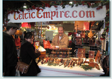 Rudi Diesvelt, silversmith and leatherworker, at his Celtic Empire booth, Granville Island, Vancouver, Dec 2010