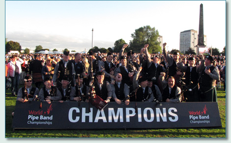 St. Lawrence O'Toole Pipe Band winning the World Pipe Band Championships, Glasgow Green, Scotland  2010