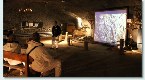 Salt Mine guide and film at the Saltzwelten Hallein, Austria