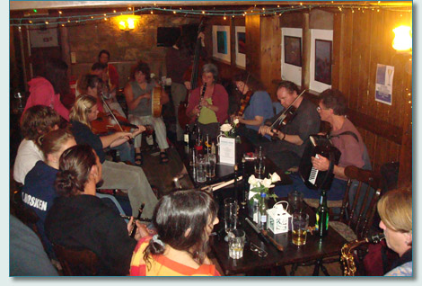 Traditional Cornish music session at the Seiners Pub in Perranporth Cornwall