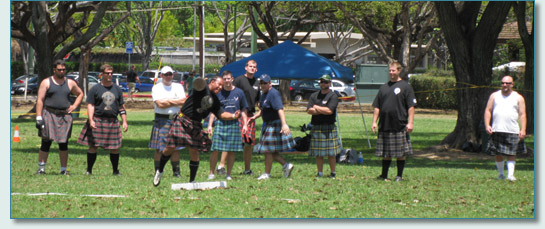 Heavy Athletics competitors at the Hawaiian Scottish Festival and Highland Games, Waikiki 2010