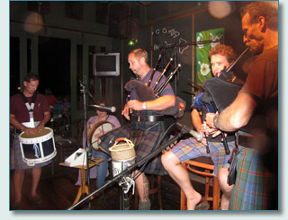 Maui's Piping Highlanders on Smallpipes at Mulligans Wailea.
