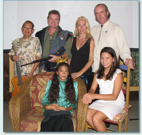 Cindy Combs, Hamish Burgess, Kawena'ulaonalani Tyger Warren, Jennifer Fahrni, Mark Jeffers and Kaleiu'i, at the Storybook Theater, Hanapepe, Kauai, the cast for a Celebration of Princess Victoria Ka'iulani Cleghorn