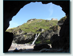 Tintagel Beach and Waterfall from Merlin's Cave