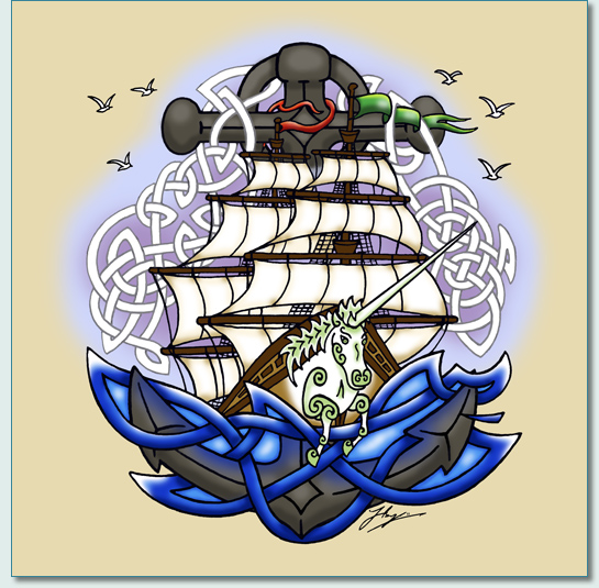 'IRISH ROVERS UNICORN SHIP TATTOO'  by Hamish Burgess © 2011
