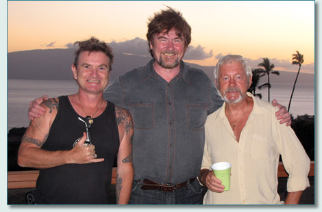 Hamish Burgess, John Beaton and Alfie Rawlings at 'Waking Alfie', West Maui June 2010