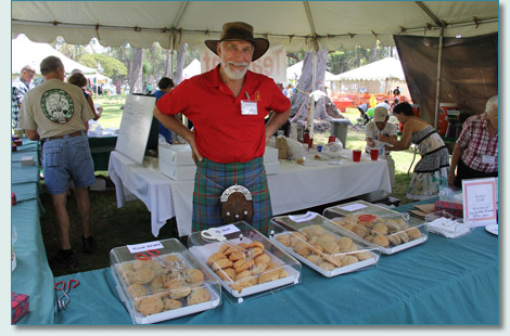 Walt Herring with fabulous scones at the Hawaiian Scottish Festival, Waikiki, April 2013