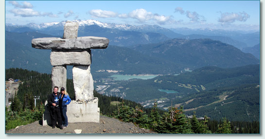 Hamish Burgess and Jennifer Fahrni at the inuksuk near the summit of Whistler BC, Canada
