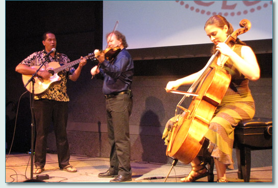 Wilmont Kahaialii, Alasdair Fraser & Natalie Haas at the McCoy Studio Theater, MACC